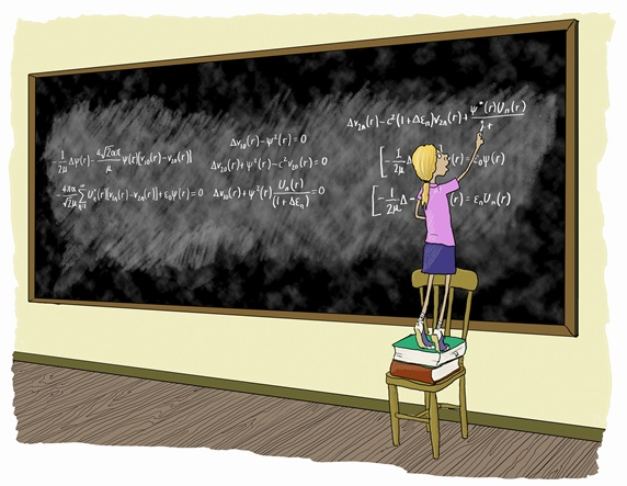 Little girl standing on chair doing complex mathematical formulae on blackboard