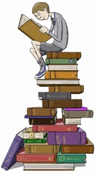 Schoolboy reading sitting on top of tall pile of books