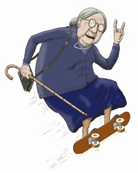 Elderly woman having fun skateboarding