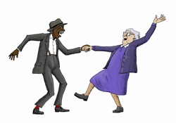 Elderly couple having fun jive dancing
