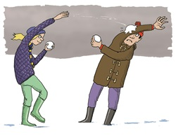 Man and woman having snow ball fight