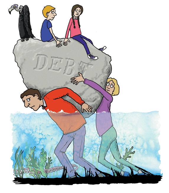 Family carrying heavy rock representing debt