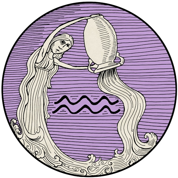 Aquarius, purple round astrology sign
