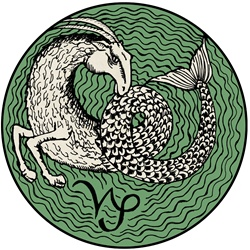 Capricorn, green round astrology sign