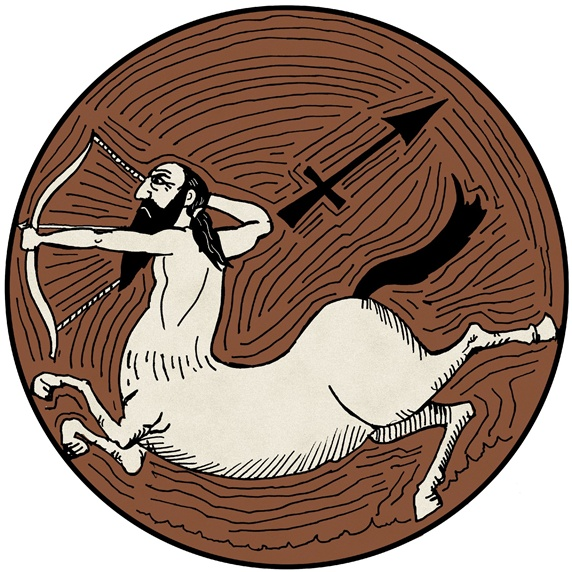 Sagittarius, brown round astrology sign