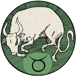 Taurus, green round astrology sign