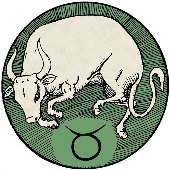Taurus Green Round Astrology Sign Stock Images