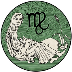 Virgo, green round astrology sign