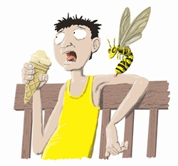Man being stung by wasp while eating ice cream