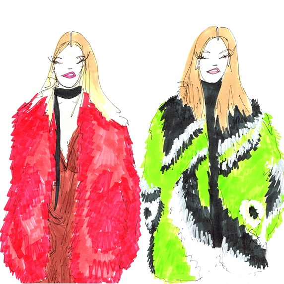 Portrait of women wearing faux fur coats
