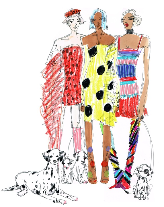 Three fashionable women with Dalmatian dogs
