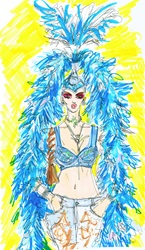 Woman wearing bra and blue feathers