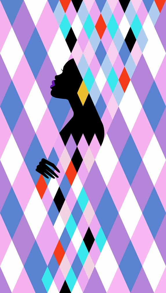 Woman emerging from geometric multicolored diamond shape pattern