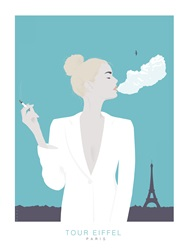 Woman smoking in front of Eiffel tower