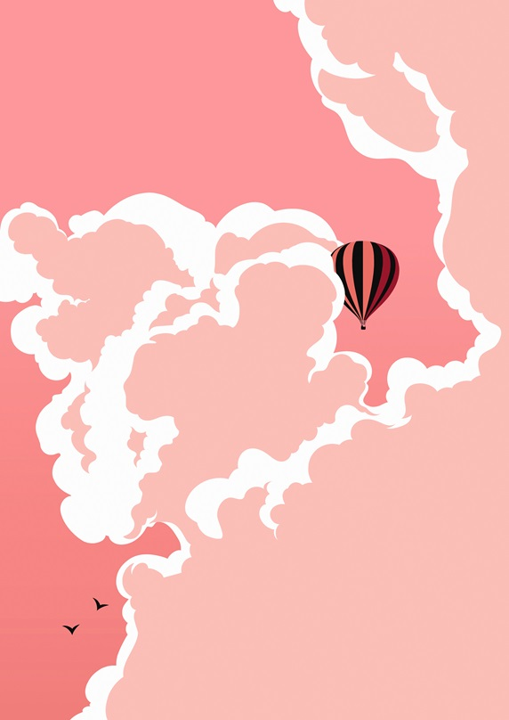 Hot air balloon floating in pink sky