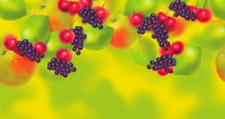 Colorful fruit pattern of apples, cherries, grapes and limes
