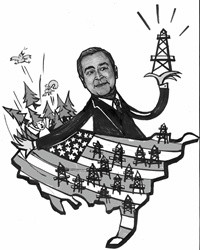 Politician holding oil rig and throwing people and trees from american map