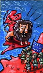 Lion roaring, standing on map of england, soldiers with EU flag standing on map with sign Europa