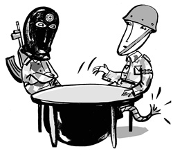 Soldier and terrorist sitting at table with big bomb underneath