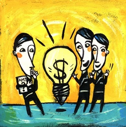 Three men standing around light bulb with dollar sign inside