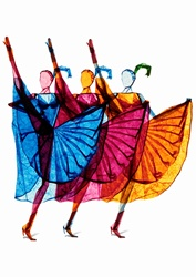 Multicolored tissue paper can can dancers in a row