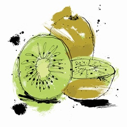 Whole and cut kiwi fruit