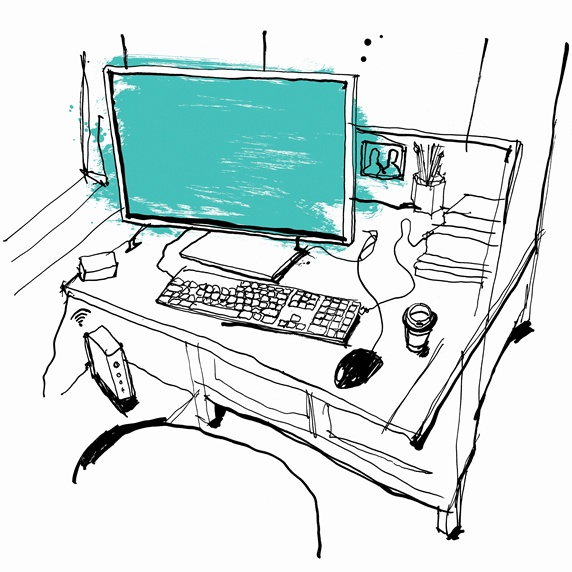 Drawing of desk workspace with computer and take away coffee