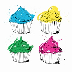 Four brightly colored cupcakes