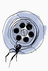 Close up drawing of spider in sink plug hole