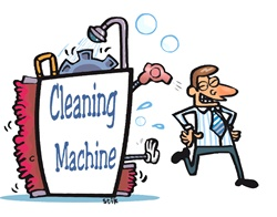 Man walking out from cleaning machine