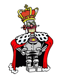 Portrait of robot in king's costume