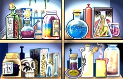 Potions on shelves