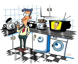 Kitchen appliances watching man
