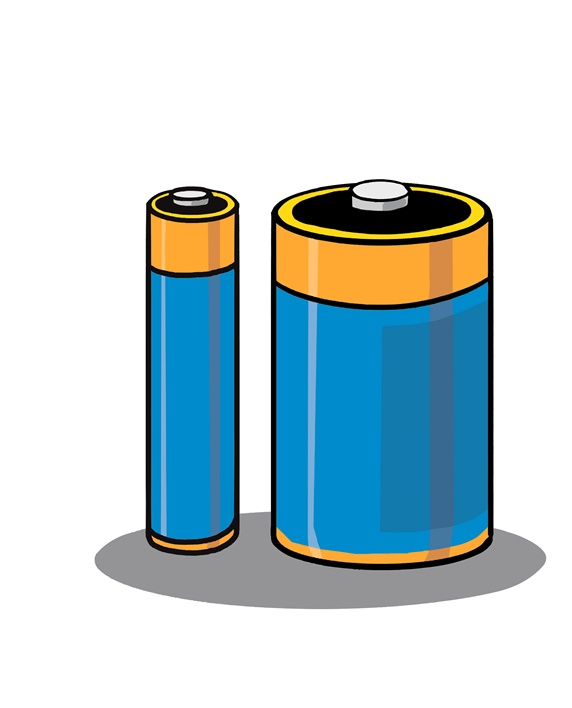 Batteries on white background