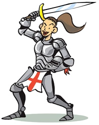 Knight on white background