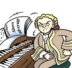 Portrait of angry pianist