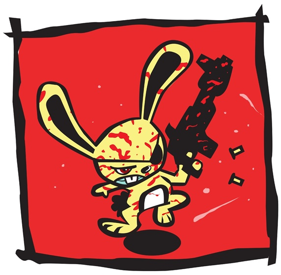 Bloodstained rabbit running and shooting gun