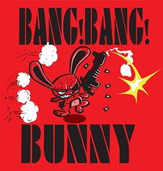 Red rabbit running and shooting gun