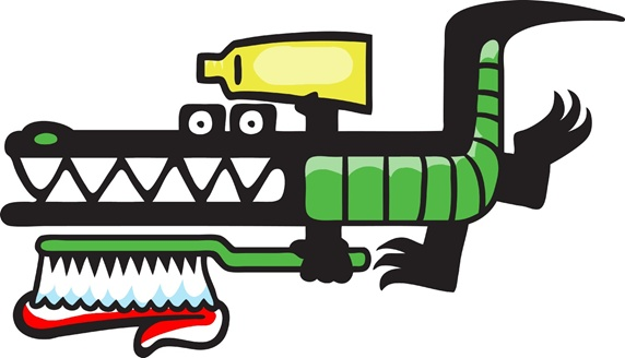 Crocodile holding toothpaste tube and toothbrush