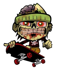 Zombie skateboarder with evil grin jumping