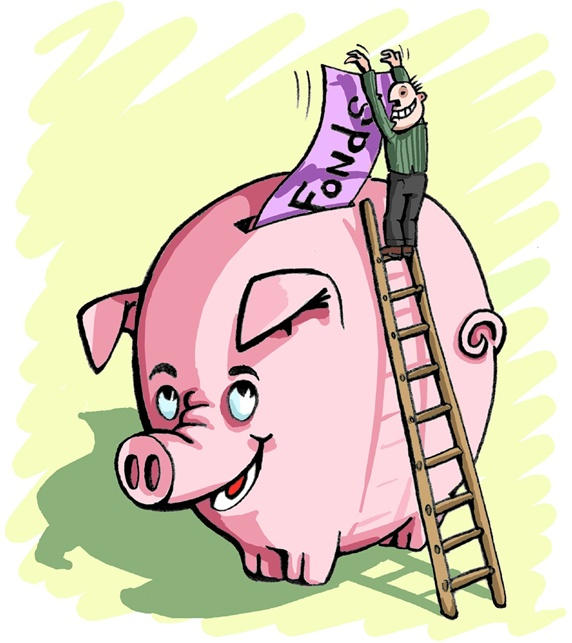 Man standing on ladder putting money into piggy bank