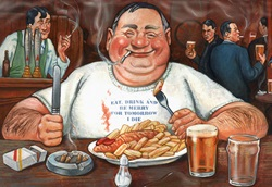 Overweight man eating, drinking and smoking in old fashioned pub