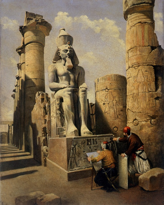 Artist drawing pharaoh statue in Egypt by Bob Venables