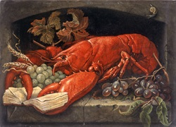 Flemish style still life with lobster holding book by Bob Venables
