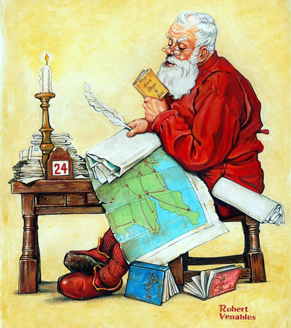 Santa with map on laps reading at table, 19-th century style illustration by Bob Venables
