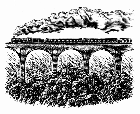 Black and white scraperboard engraving of steam train going over viaduct