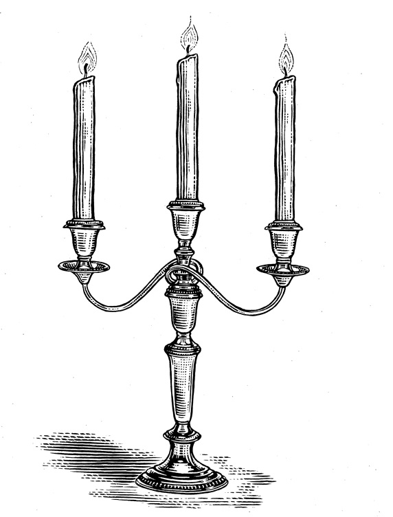 Candelabra with three candles