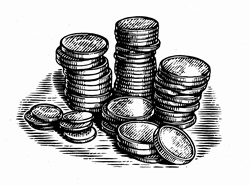 Black and white scraperboard engraving of piles of coins