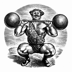 Black and white scraperboard engraving of circus strongman