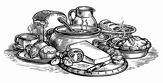 Black and white scraperboard engraving of range of homemade food
